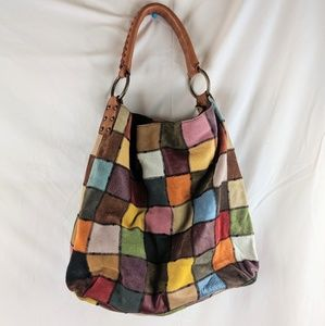 Lucky Brand | suede patchwork colorful hobo purse
